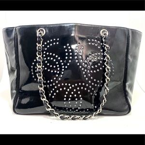 Auth Chanel Perforated Shopping Tote Black Patent